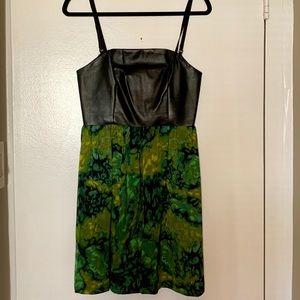 Kensie faux leather bodice a-line dress